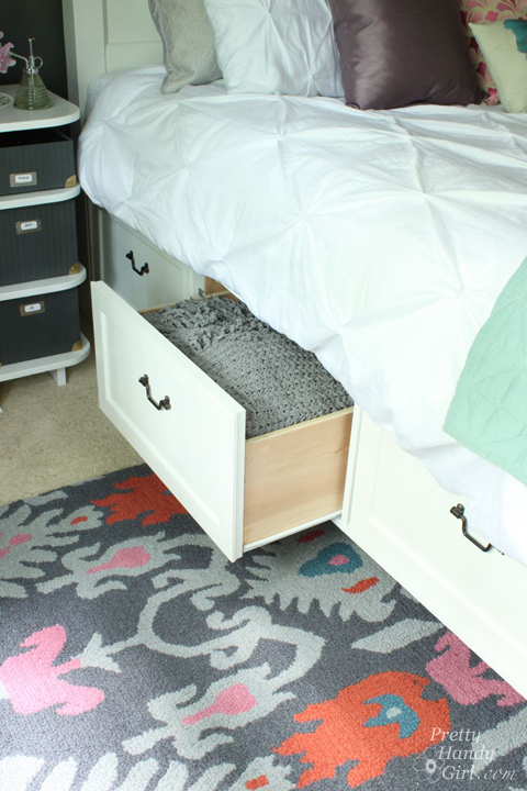 Modified King Size Farmhouse Bed with Storage Drawers | Pretty Handy Girl