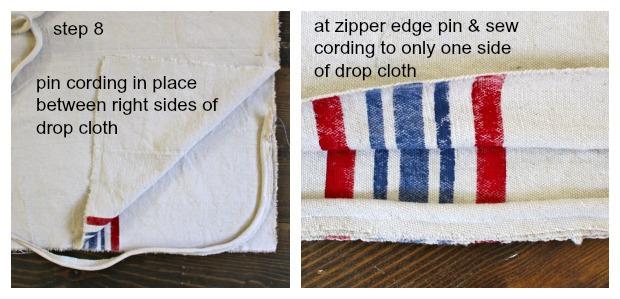 striped euro shams step 8