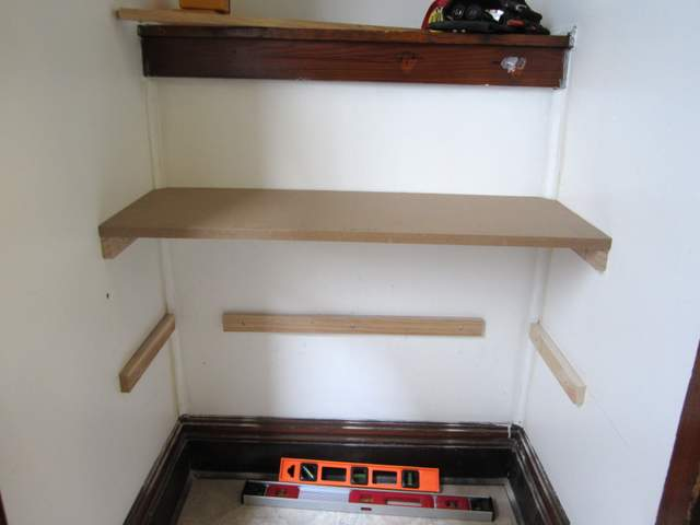 DIY Built In Shoe Shelves