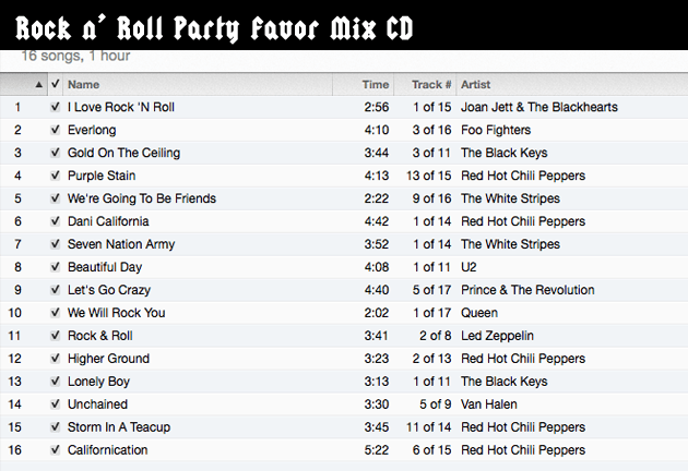 Mix CD Song List for Rock n' Roll Birthday Party | Pretty Handy Girl