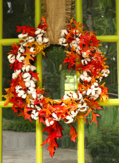 Cotton Fall Wreath and Décor for the Entryway