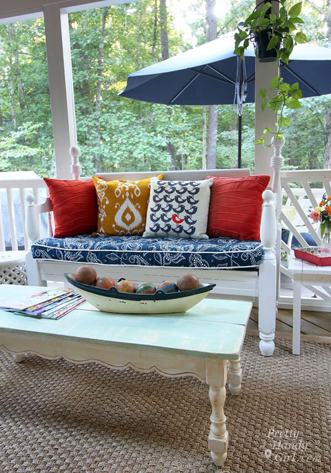 Turning a Bed Frame into a Patio Bench