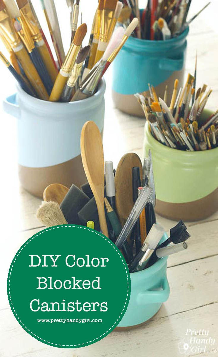 Add modern charm to thrift store canisters with this color block tutorial from Pretty Handy Girl! | thrift store makeover #prettyhandygirl #DIY #craft #thriftstoremakeover
