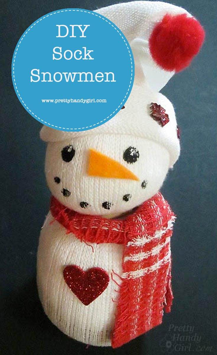 Easily make these super cute sock snowmen with this tutorial from Pretty Handy Girl! | Winter snowman craft | #prettyhandygirl #DIY #snowmancraft #crafttutorial