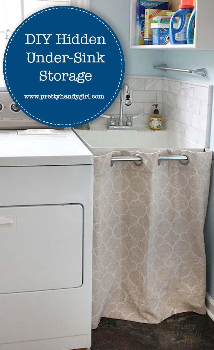 Keep your laundry room looking tidy with this tutorial for hidden under-sink storage from Pretty Handy Girl! | DIY storage | Home organization #prettyhandygirl #laundryroom #laundryroomstorage #homeorganization