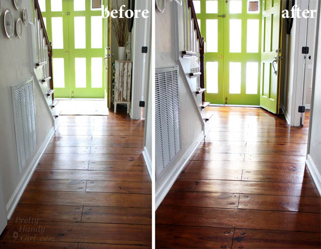 Before and After Finishing Wood Floors without Sanding | Pretty Handy Girl
