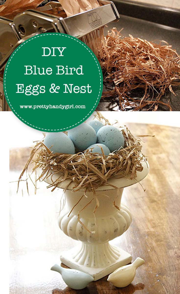 This DIY nest of Blue Bird Eggs makes a beautiful centerpiece for your Easter decor! | DIY Easter table centerpiece | Pretty Handy Girl #prettyhandygirl #easterdecor #tablecenterpiece