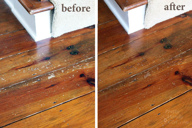 Before and After How to Refinish Wood Floors without Sanding | Pretty Handy Girl