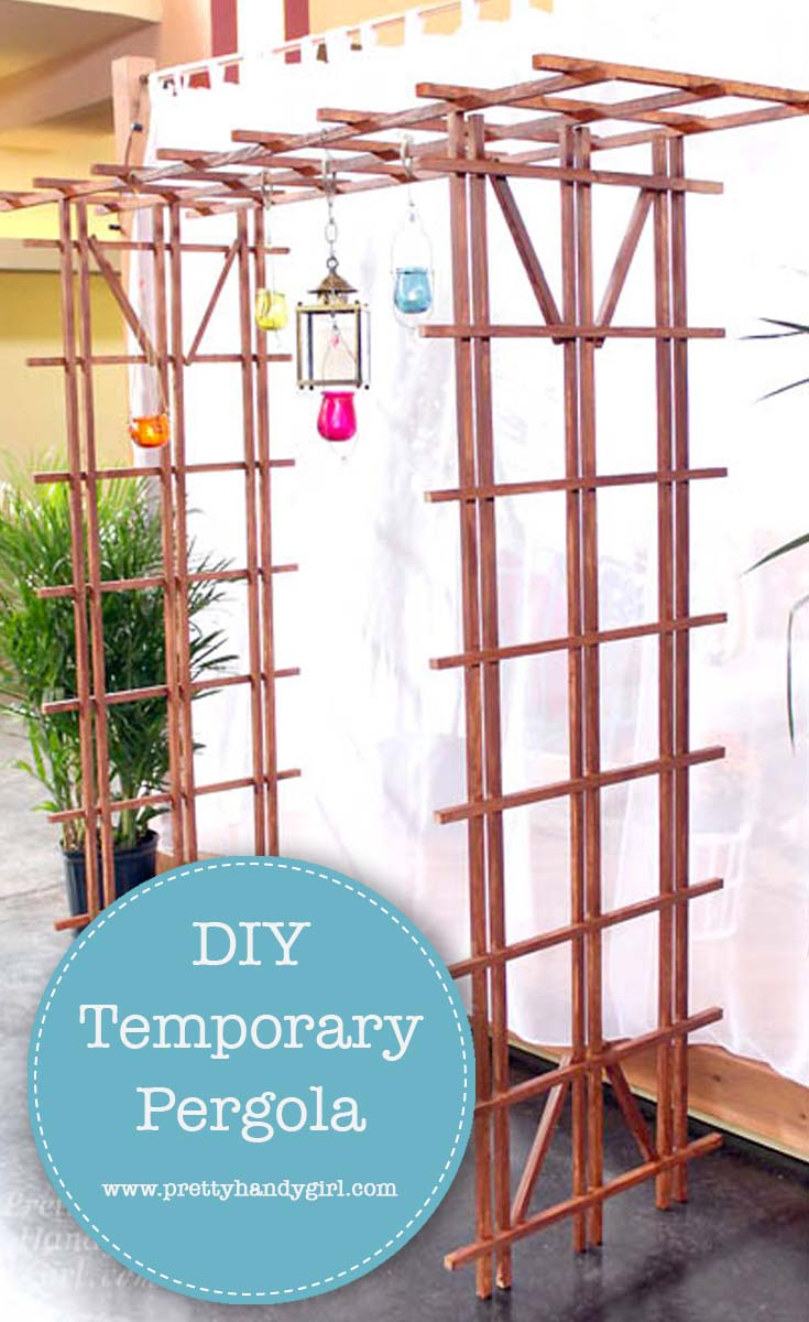 This tutorial to build a temporary pergola is perfect for a wedding, photo shoot, for some shade, or for your garden if you are okay with it not lasting forever | Pretty Handy Girl #DIY #DIYpergola #TemporaryPergola