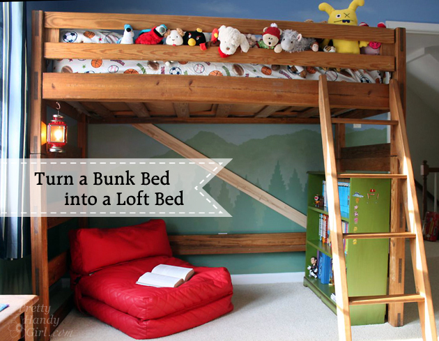 how to turn a bunk bed into a loft bed. Black Bedroom Furniture Sets. Home Design Ideas