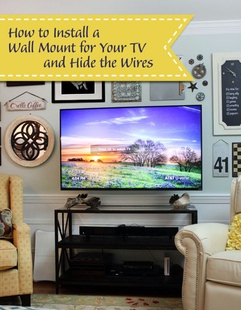 wall mounted tv with hidden wires tutorial rh prettyhandygirl com wall mounting flat screen tv hiding wires Corner Wall Mount for Flat Screen TV