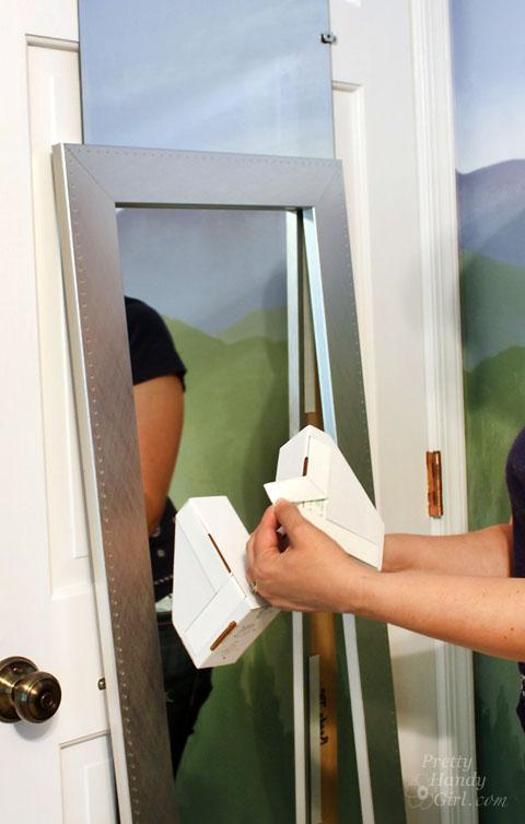 Install a ReadyMade Mirror Frame on Door | Pretty Handy Girl