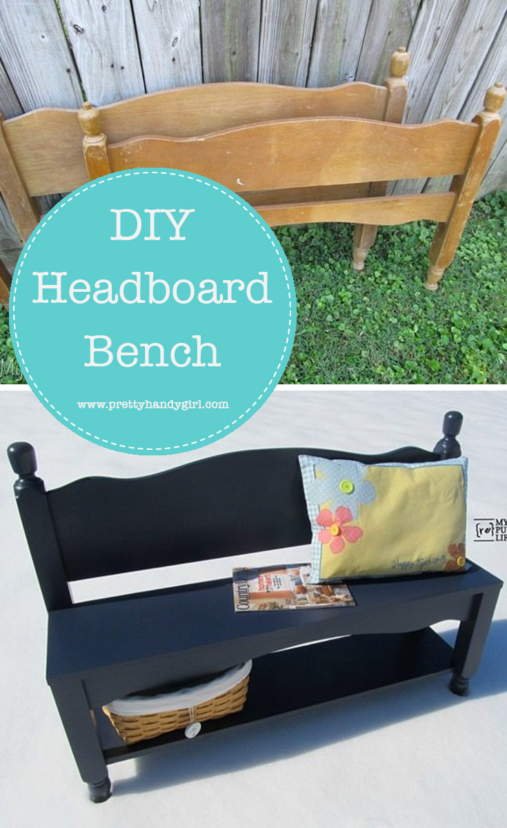 Transform two headboards into a functional bench with this tutorial from Pretty Handy Girl   DIY bench   #prettyhandygirl #DIY #woodworking #bench