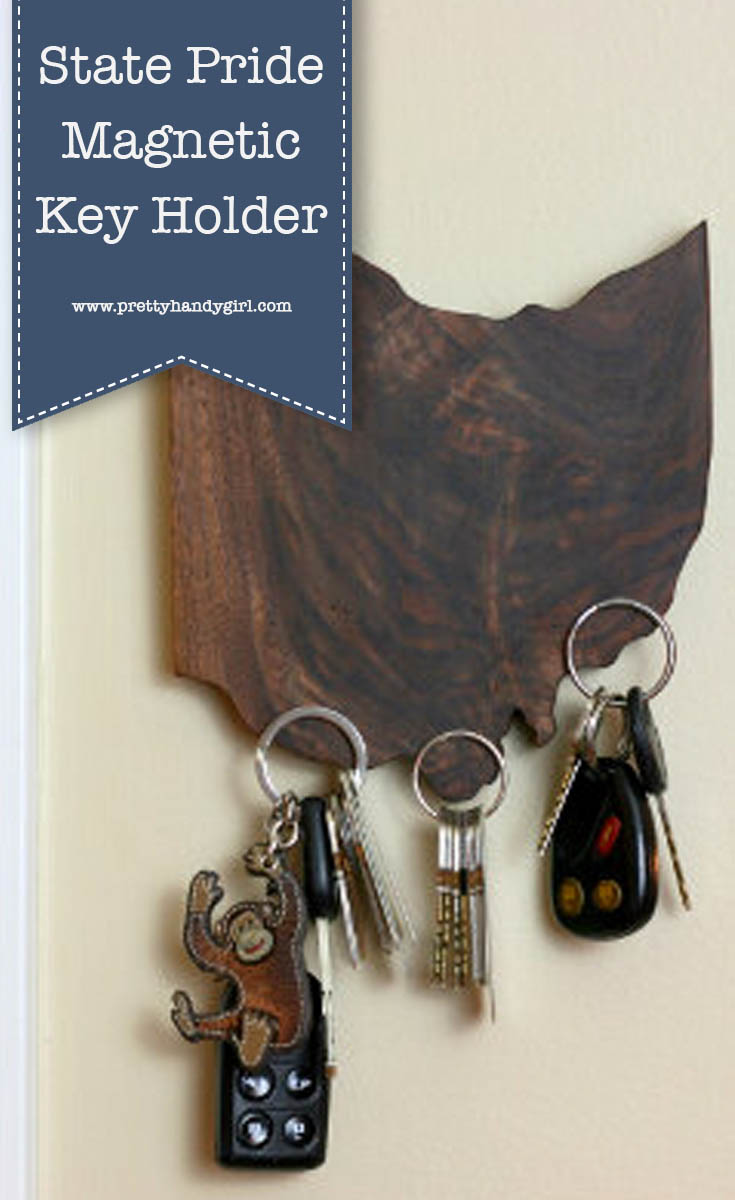 Easily DIY this State Pride Magnetic Key Holder with this tutorial from Pretty Handy Girl! And if you look close you'll notice that it's magic because there are no hooks in sight! | Hookless key holder | Magnetic key holder #prettyhandygirl #DIY #keyholder #woodproject