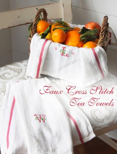 Faux Cross Stitch Tea Towels