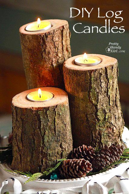 Log Tealight Pillar Candles