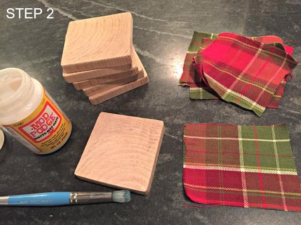 fabric & wood coasters step 2
