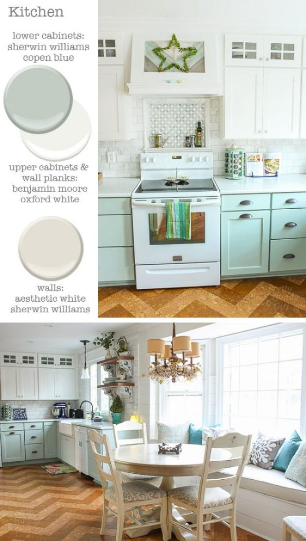 Kitchen - Cabinets: Sherwin Williams Copen Blue and Benjamin Moore Oxford White - Walls: Sherwin Williams Aesthetic White | Pretty Handy Girl