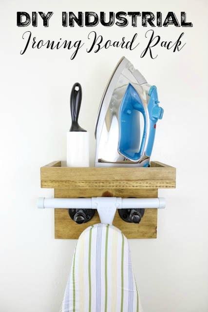 DIY Industrial Ironing Board Rack