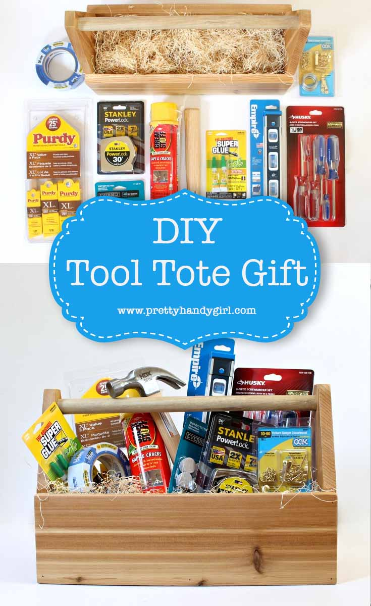 Check out this DIY tool tote gift idea. It's perfect for Father's Day, a Honey-Do Shower, New Homeowners, or basically any occasion — because who doesn't love tools?!! | DIY gift ideas | Father's Day gift idea | Pretty Handy Girl | #prettyhandygirl #DIYgift #handmadegift #fathersdaygift