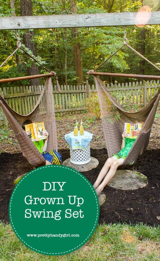 Have your kids outgrown the swing set? Have no fear - transform it into a swing set for adults with this easy-to-follow tutorial from Pretty Handy Girl! | Swing set for adults | adult swing set | Pretty Handy Girl #prettyhandygirl #DIY #tutorial