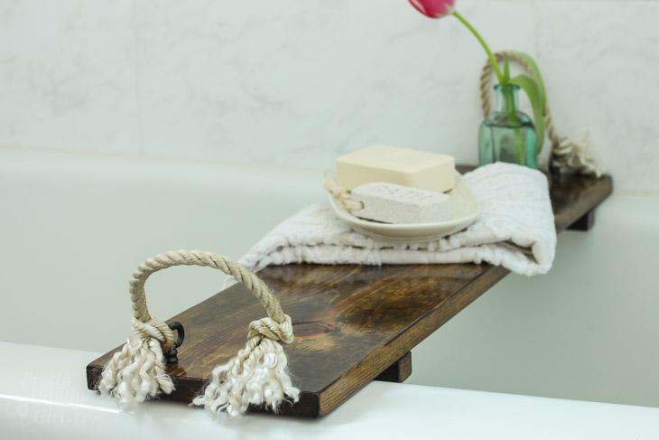 Rustic Wood Bathtub Tray | Pretty Handy Girl