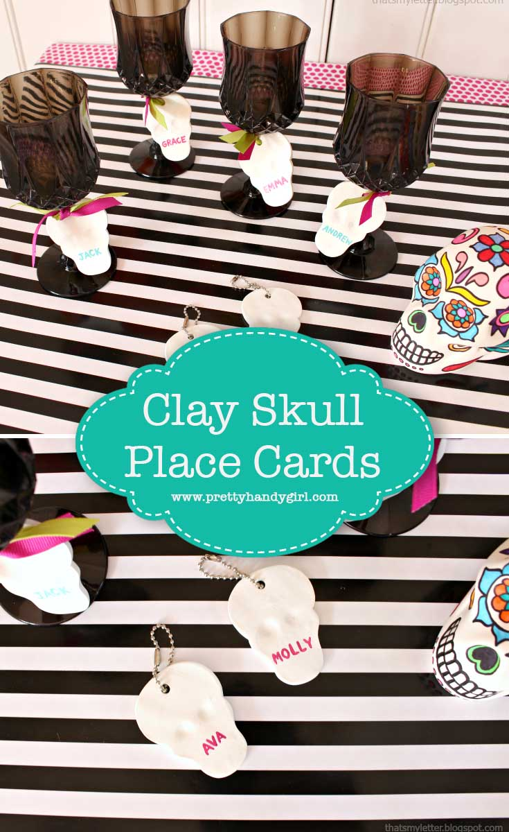 These easy DIY skull placecards are the perfect addition to your Halloween party! | Pretty Handy Girl #prettyhandygirl #seasonal #party #craft #DIY