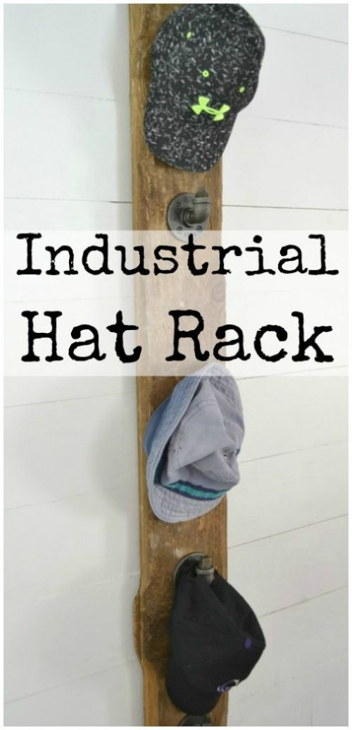 How to build an industrial hat rack to keep all your hats organized. | prettyhandygirl.com