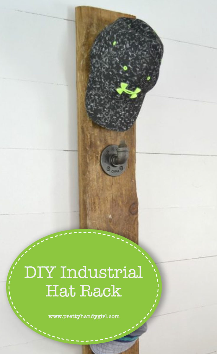 How to build an industrial hat rack to keep all your hats organized. | Industrial DIY project | DIY hat rack | Pretty Handy Girl #prettyhandygirl #DIY #industrialdecor #homeorganization