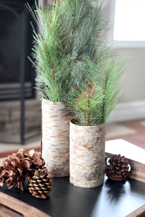clever diy holiday decor ideas - rustic bark vases