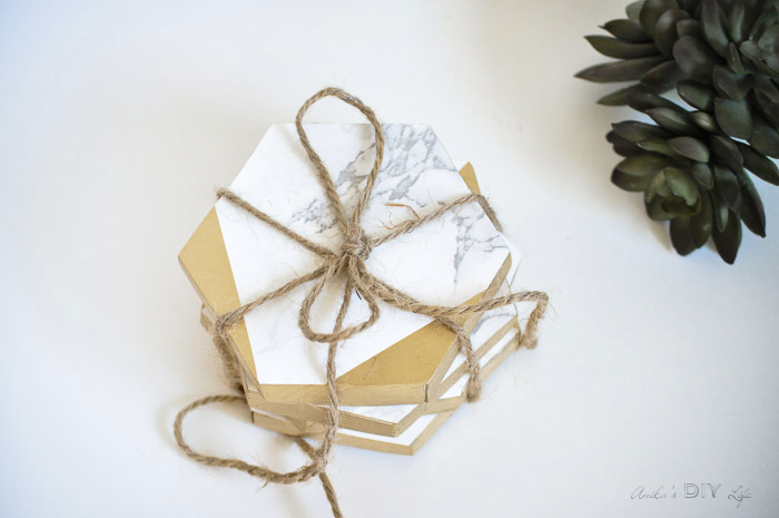 gold and marble coasters by pretty handy girl