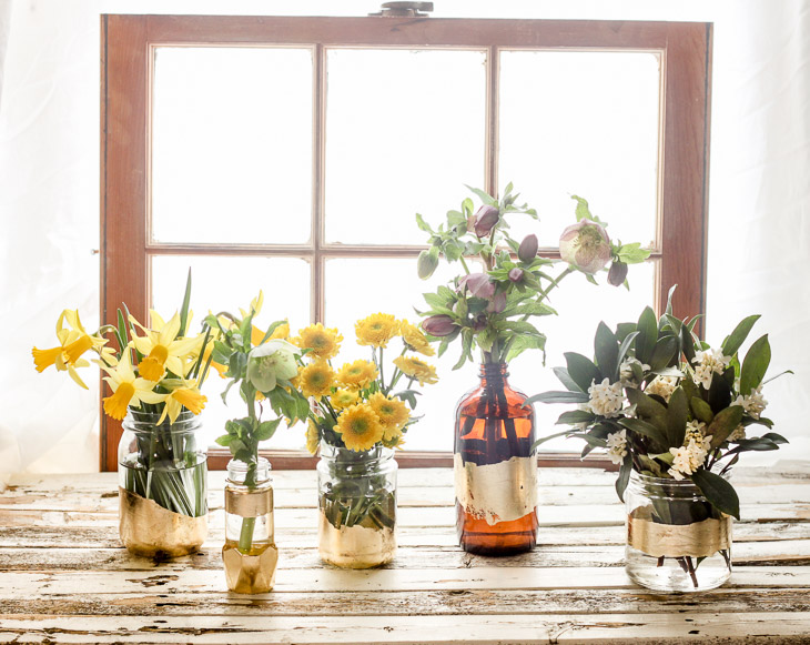 DIY Gold Leaf Vases from Recycled Bottles | Pretty Handy Girl