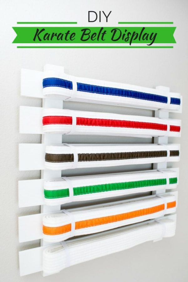 It may take years to earn all the belts, but it will only take you minutes to make this DIY karate belt display!