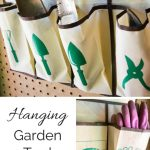 Get all your gardening tools in one spot with this hanging garden tool organizer!