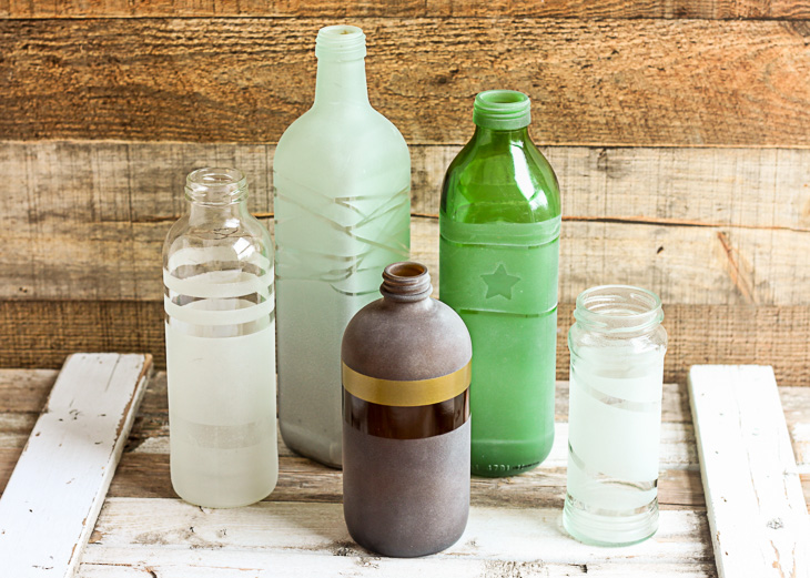 Frosted Glass Vases from the Recycled Bin