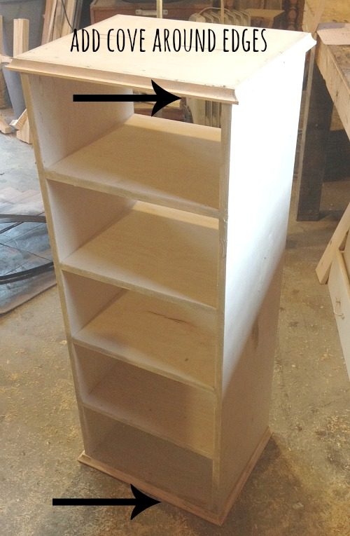 Add cove molding along plywood edges