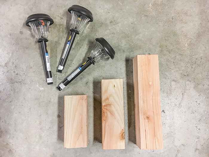 Materials to make an easy Solar light stand