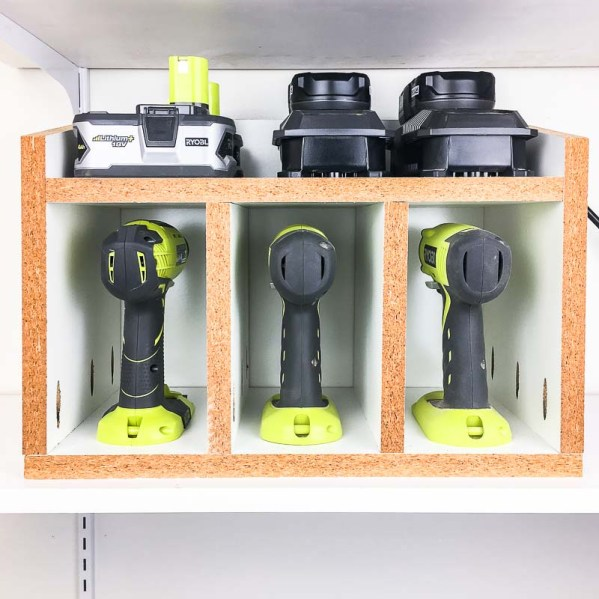 This cordless drill storage box makes it easy to grab your tools and get to work!