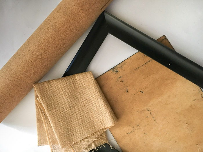 Materials to make the burlap covered cork board