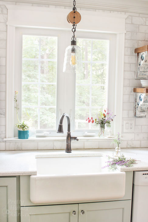 Sink Goals! Love this farmhouse sink with blue cabinets