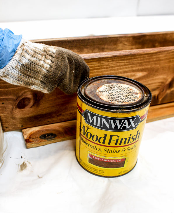Wipe on Minwax Early American Stain.