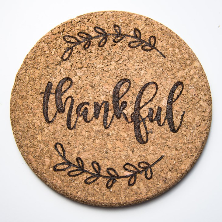 Make Thanksgiving themed cork trivets for your next family get together!