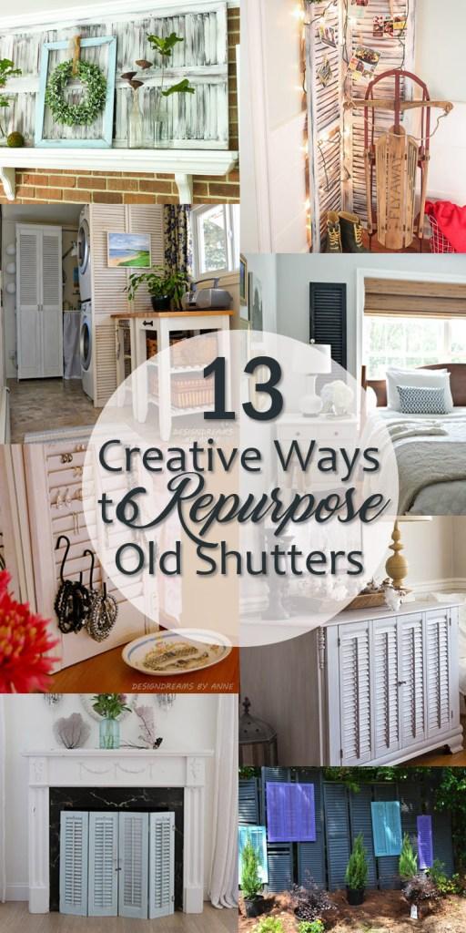 creative ways to repurpose old shutters - pinterest image