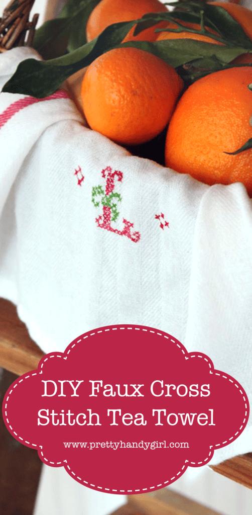 white cross stitch tea towel