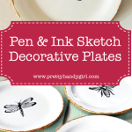 white decorative plates with ink sketch