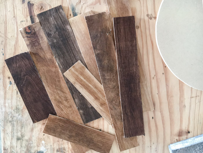 Strips of plywood for wall clock