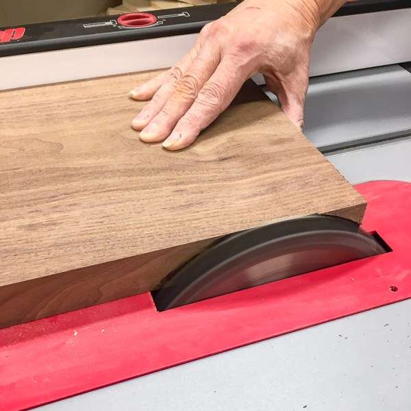 Clean up the edges of the board on the table saw.