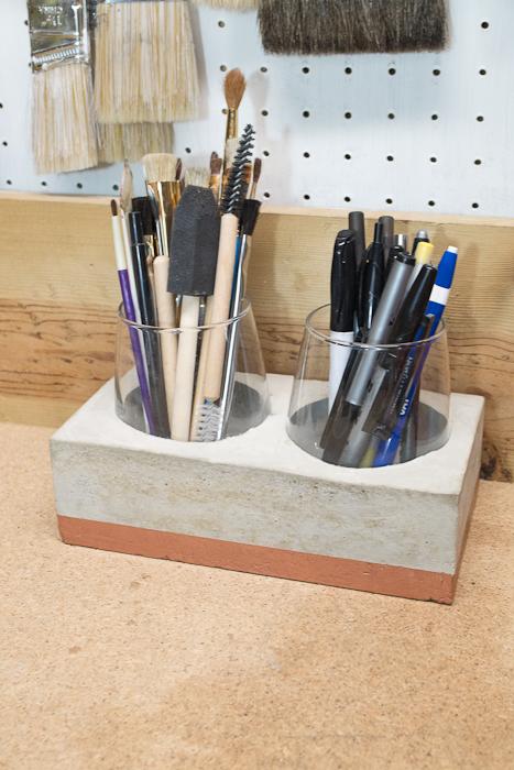 DIY Concrete Desk Organizer- finished photo in the shop