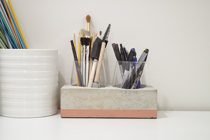 DIY Concrete Desk Organizer- finished photo horizontal