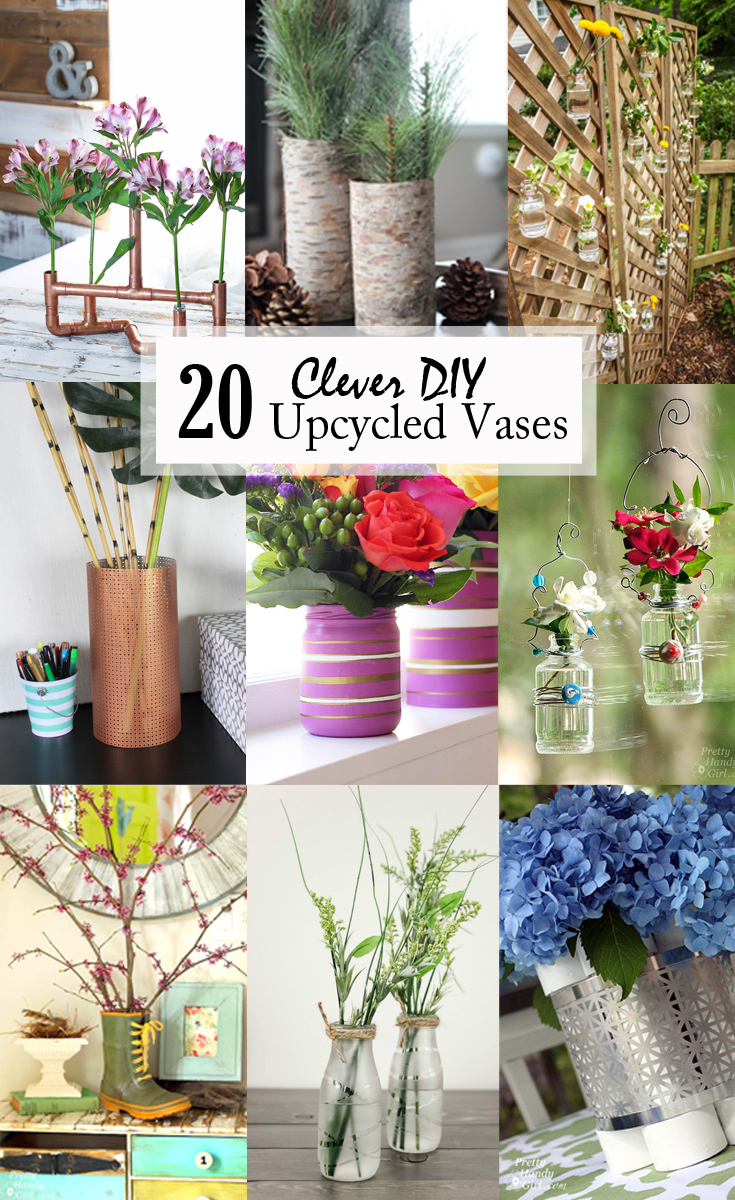 20 Clever DIY Upcycled Vases - These 20 clever upcycled vases show just a few creative ways you can make a vase from items you already own or that can be found at a low price. There are many options, and I hope these ideas inspire you to think outside the box.